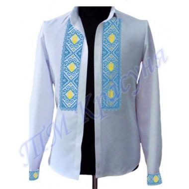 """Зшита заготовка чоловічої сорочки під вишивку """"Тризуби в орнаменті"""""""