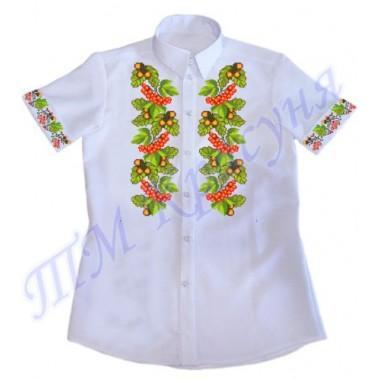 """Зшита заготовка чоловічої сорочки на короткий рукав під вишивку """"Калина та жолуді"""""""