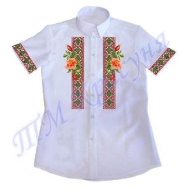 """Зшита заготовка чоловічої сорочки на короткий рукав під вишивку """"Орнамент з шипшиною"""""""