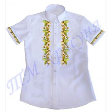 """Зшита заготовка чоловічої сорочки на короткий рукав під вишивку """"Жолуді"""""""