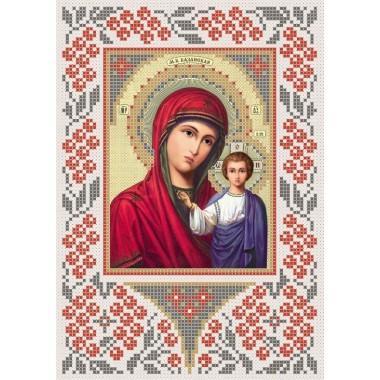 R-0019 Казанська ікона Божої Матері А5 (калина) (варіант 4). Схема вишивки