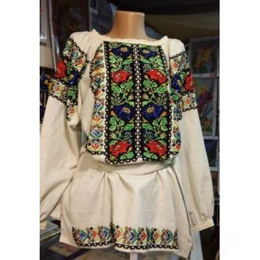 """Заготовка жіночої сорочки з нанесеним малюнком під вишивку """"Борщівська (квіти)"""""""