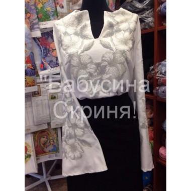"""Заготовка жіночої сорочки з нанесеним малюнком під вишивку """"Квіти (біло-сірі)"""""""