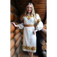 """Заготовка сукні з нанесеним малюнком під вишивку """"Соняшники та маки з орнаментом"""""""