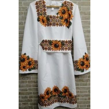 """Заготовка сукні з нанесеним малюнком під вишивку """"Соняшники з орнаментом"""""""