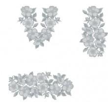 """Заготовка сукні з нанесеним малюнком під вишивку """"Квіти"""" (біло-сірі)"""