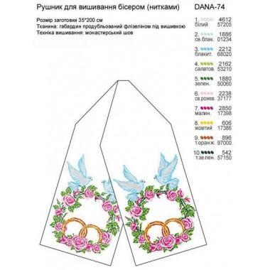 """Заготовка весільного рушника для вишивки """"Голуби над квітами"""""""