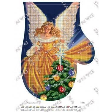 """Схема для вишивки бісером """"Різдвяний ангел""""(рукавиця)"""