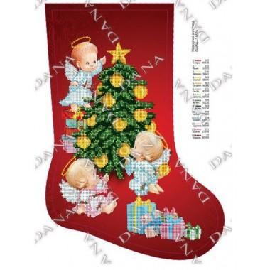 """Схема для вишивки бісером """"Новорічні ангелята""""(чобіт)"""