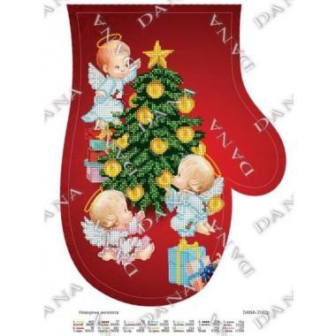 """Схема для вишивки бісером """"Новорічні ангелята""""(рукавиця)"""