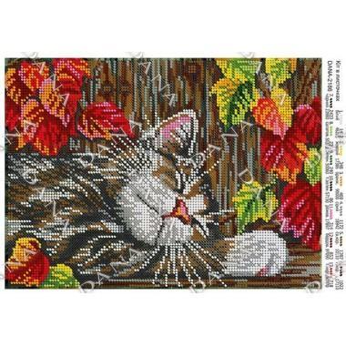 """Схема для вишивки бісером """"Кіт в листочках"""""""