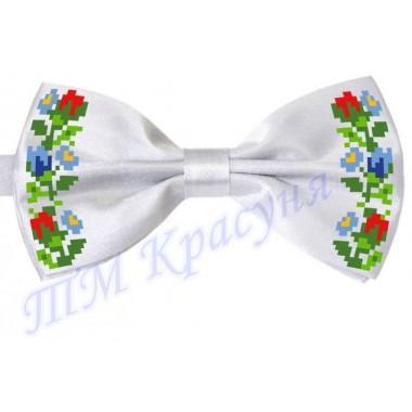 """Краватка-метелик під вишивку бісером """"Квіти (білий)"""""""