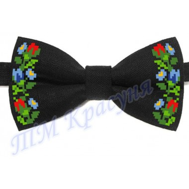 """Краватка-метелик під вишивку бісером """"Квіти (чорний)"""""""