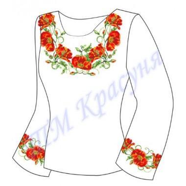 """Заготовка для жіночої блузки """"Плетючі маки"""""""