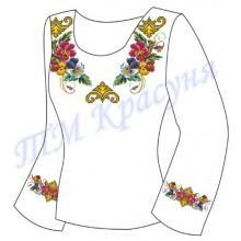 """Заготовка для жіночої блузки """"Фіалки в незвичайному орнаменті"""""""