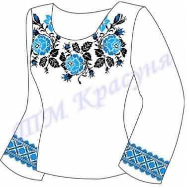 """Заготовка для жіночої блузки """"Плетючі троянди"""" (сині) (варіант 2)"""