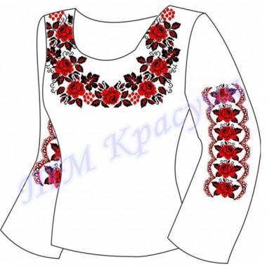 """Заготовка для жіночої блузки """"Троянди та калина"""""""