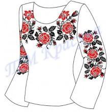 """Заготовка для жіночої блузки """"Плетючі троянди"""" (червоні)"""
