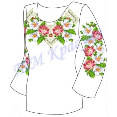 """Заготовка для жіночої блузки """"Квіти в орнаменті"""""""