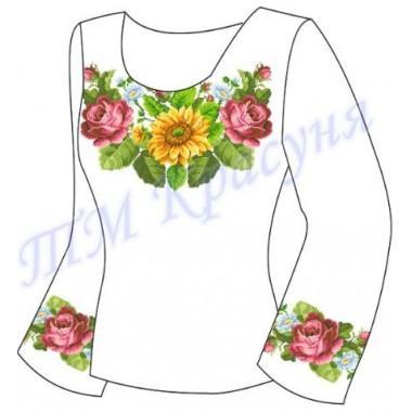 """Заготовка для жіночої блузки - композиція """"Троянди, маки та ромашки"""""""