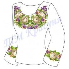 """Заготовка для жіночої блузки """"Фіалки та білі троянди"""""""