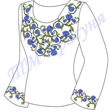 """Заготовка для жіночої блузки """"Сині іриси"""""""