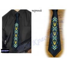 """Заготовка чоловічого галстука під вишивку бісером """"Тризуб"""" (чорний)"""