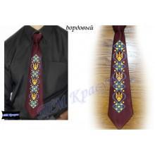 """Заготовка чоловічого галстука під вишивку бісером """"Тризуб"""" (бордовий)"""