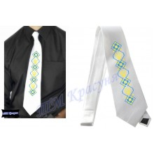 """Заготовка чоловічого галстука під вишивку бісером """"Тризуб"""" (білий)"""