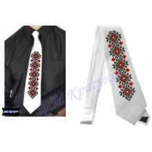 """Заготовка чоловічого галстука під вишивку бісером """"Червоно-чорний орнамент"""" (білий)"""