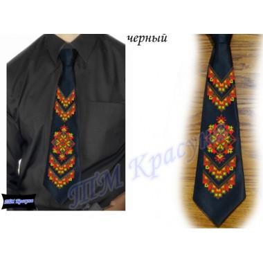 """Заготовка чоловічого галстука під вишивку бісером """"Слов'янський орнамент"""" (чорний)"""