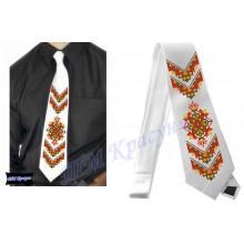 """Заготовка чоловічого галстука під вишивку бісером """"Слов'янський орнамент"""" (білий)"""