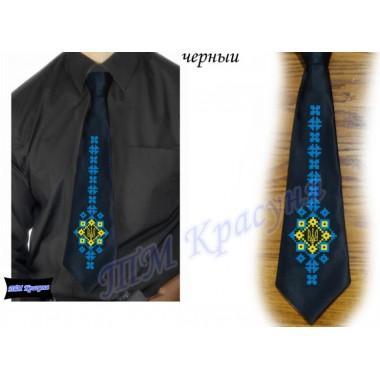 """Заготовка чоловічого галстука під вишивку бісером """"Тризуб-меч"""" (чорний)"""