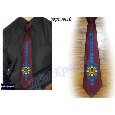 """Заготовка чоловічого галстука під вишивку бісером """"Тризуб-меч"""" (бордовий)"""