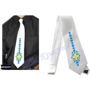 """Заготовка чоловічого галстука під вишивку бісером """"Тризуб-меч"""" (білий)"""