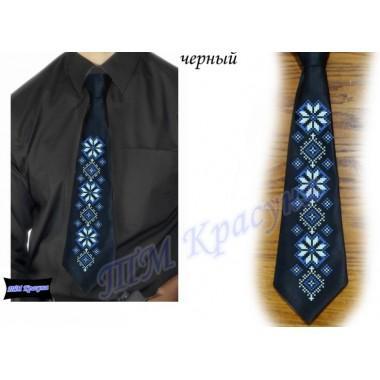 """Заготовка чоловічого галстука під вишивку бісером """"Синій орнамент"""" (чорний)"""
