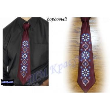 """Заготовка чоловічого галстука під вишивку бісером """"Синій орнамент"""" (бордовий)"""