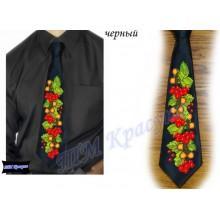 """Заготовка чоловічого галстука під вишивку бісером """"Калина та дуб"""" (чорний)"""