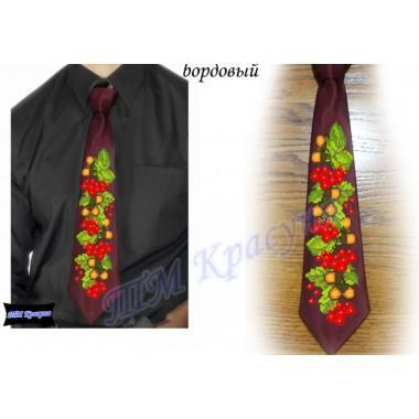 """Заготовка чоловічого галстука під вишивку бісером """"Калина та дуб"""" (бордовий)"""
