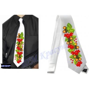 """Заготовка чоловічого галстука під вишивку бісером """"Калина та дуб"""" (білий)"""