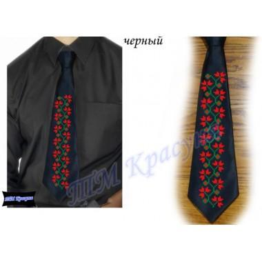 """Заготовка чоловічого галстука під вишивку бісером """"Плетіння"""" (чорний)"""