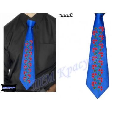 """Заготовка чоловічого галстука під вишивку бісером """"Плетіння"""" (синій)"""