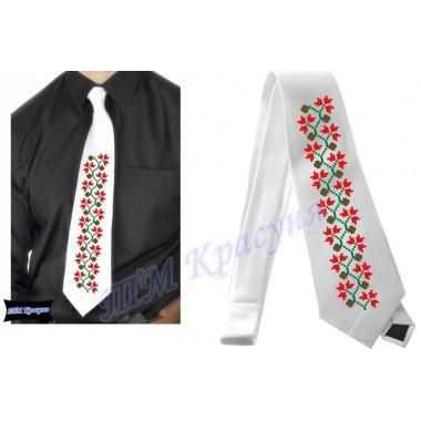 """Заготовка чоловічого галстука під вишивку бісером """"Плетіння"""" (білий)"""