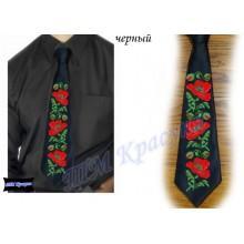 """Заготовка чоловічого галстука під вишивку бісером """"Маки"""" (чорний)"""