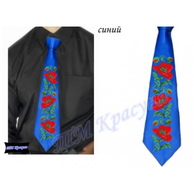 """Заготовка чоловічого галстука під вишивку бісером """"Маки"""" (синій)"""