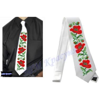 """Заготовка чоловічого галстука під вишивку бісером """"Маки"""" (білий)"""