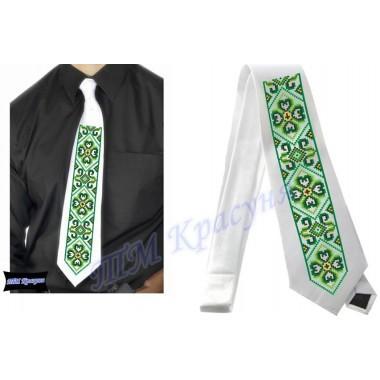 """Заготовка чоловічого галстука під вишивку бісером """"Зелений орнамент"""" (білий)"""
