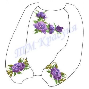 """Заготовка дитячої блузки під вишивку """"Пишні фіолетові квіти"""""""