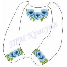 """Заготовка дитячої блузки під вишивку """"Пишні маки"""" (блакитні)"""