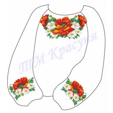 """Заготовка дитячої блузки під вишивку """"Щедрі маки з ромашками"""""""